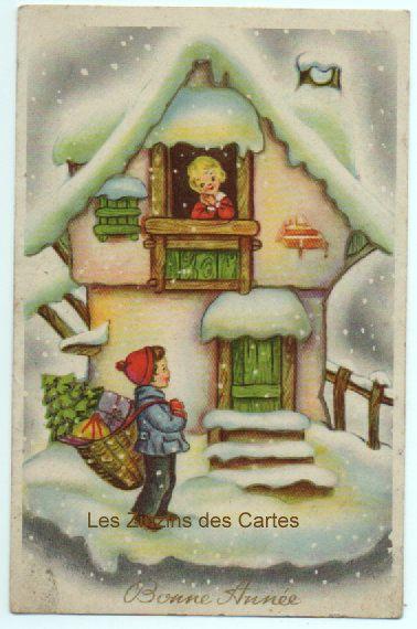 Carte postale ancienne Illustrateur   Enfants   Neige   Maison   Bonne année   carte postale ...