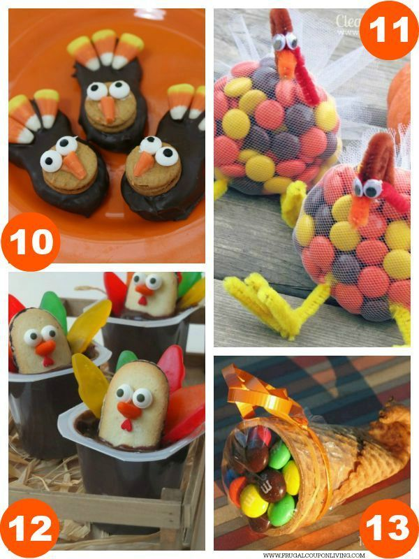 Turkey Nutter Butter Cookies, Turkey Reese's Pieces Treats, Turkey Pudding Cups, Thanksgiving Ice Cream Cone Cornucopia plus 31 Days of Thanksgiving Kids Food Craft Ideas on Frugal Coupon Living.