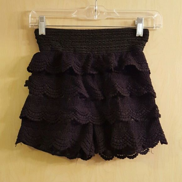 Black Crochet Shorts Black Crochet shorts. Waist is strechy. Never been worn, no tags. Size M/L on tag but I would say they fit more like a S/M. Bought at local boutique. Super cute just have never worn! Shorts