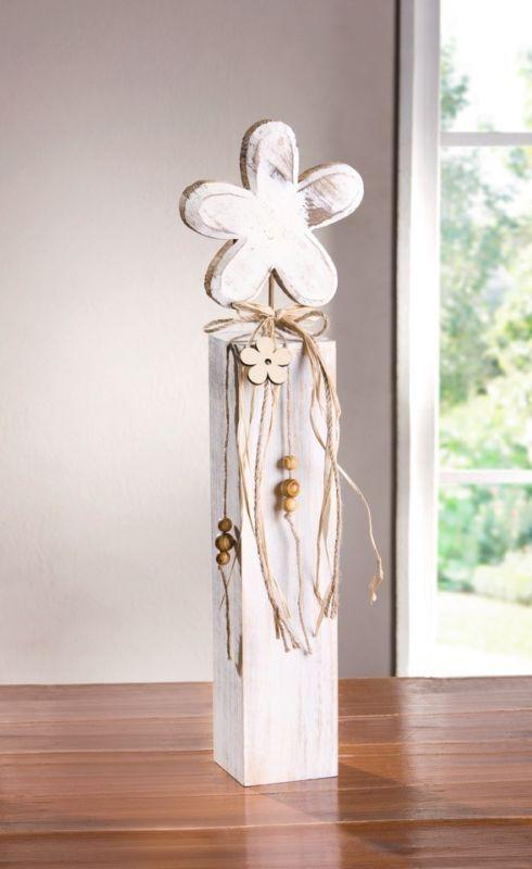 Deko-Säule Blume 53 cm Holzblume Holzsäule weiß Shabby Chic Landhaus Trend