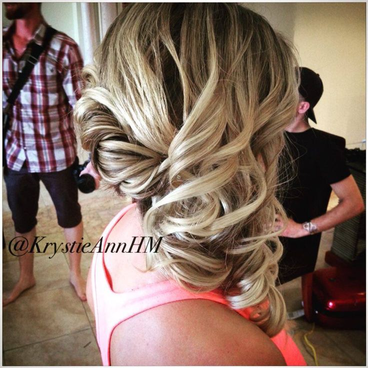 Hair: www.krystieann.com  Side Curls, side swept updo, blonde updo, curls, bridesmaid hair, bridal hair, wedding hair, punta cana wedding, punta cana bride, majestic elegance, majestic colonial, majestic resorts