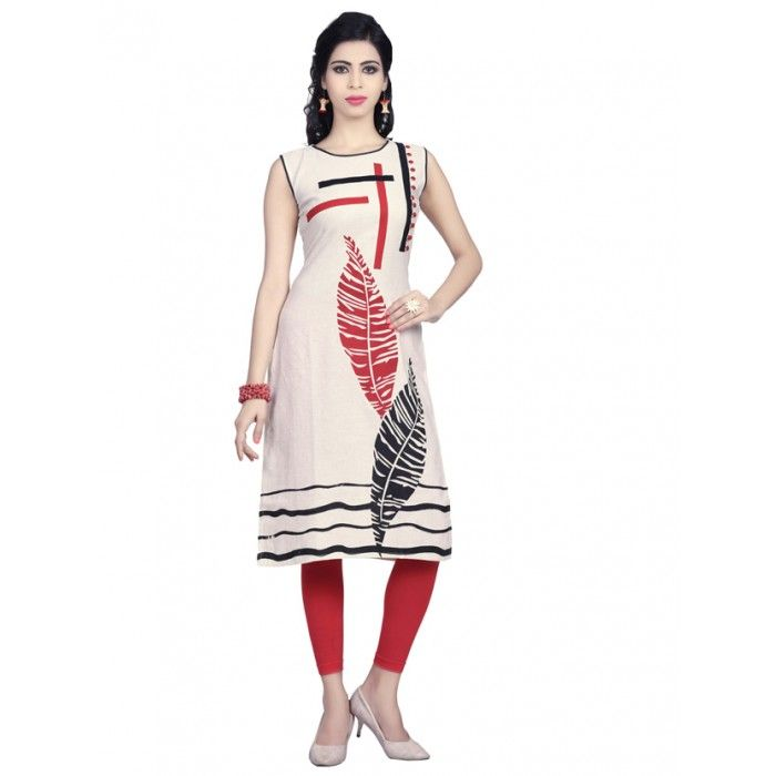 Cream and Red color Pure cotton kurti