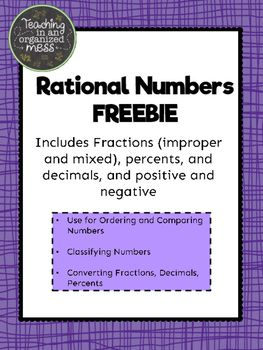 A set of rational numbers to use for students to practice ordering and comparing rational numbers, classifying rational numbers, or converting between fractions, decimals, and percents. There are over 100 cards. The numbers include integers, positive and negative fractions, decimals and percents.