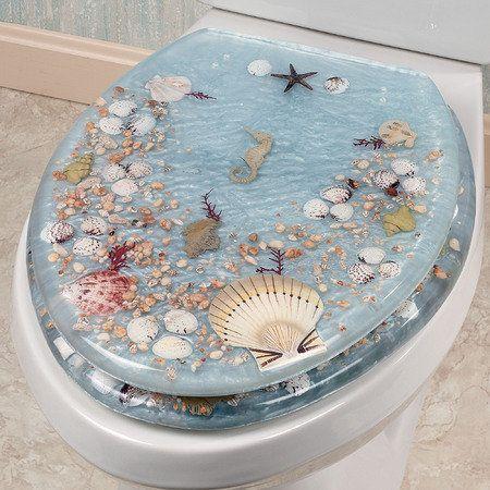 Shell Toilet Seat ~ fun for a Beach House Bath