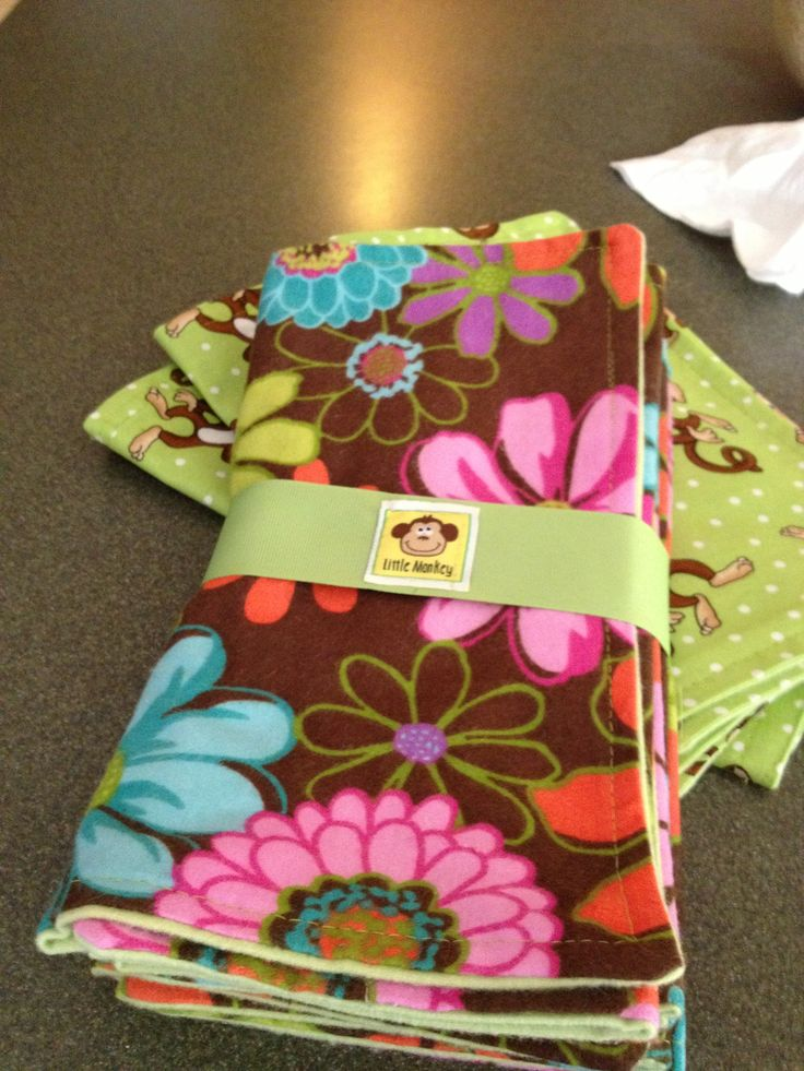 Homemade baby Burp Cloths.  Cute gift for a baby shower.