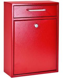 Mail Boss Olympus Locking Wall-Mount Drop Box With High Security Patented Lock, Bright Red-7426 - The Home Depot