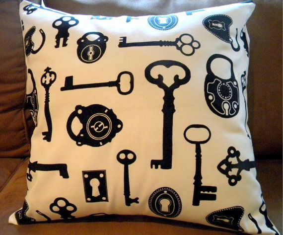 Decorative Throw Pillow Cover Antique Keys Black by decorate23, $22.00 For the Home ...