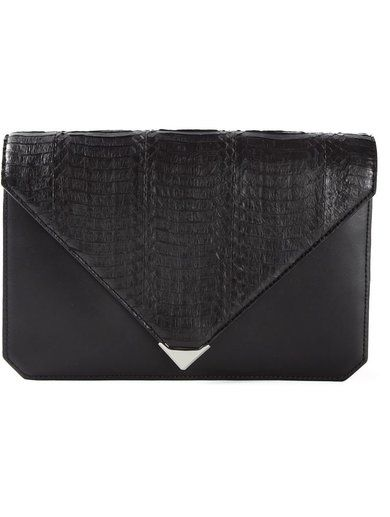 'Black leather 'Prisma' envelope clutch from Alexander Wang featuring a lizard skin effect, a foldover top with snap closure, multiple interior compartments, an internal logo patch and an internal zipped pocket.'