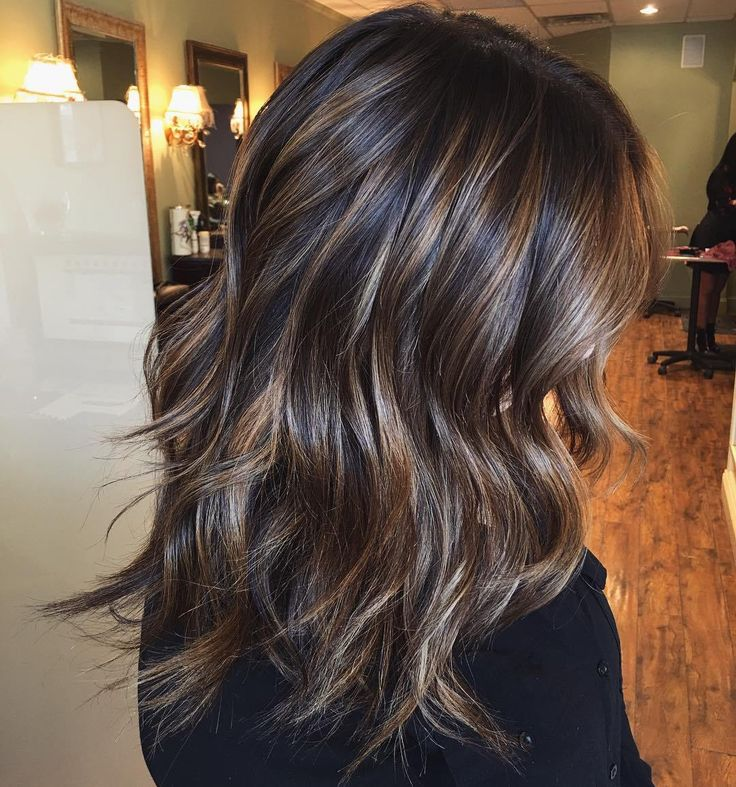 blonde and light chocolate highlights on espresso base