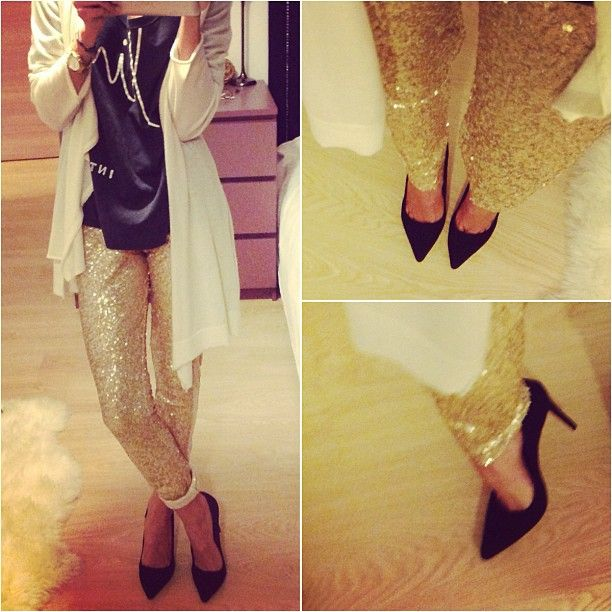 Black stiletto & gold sequins pants