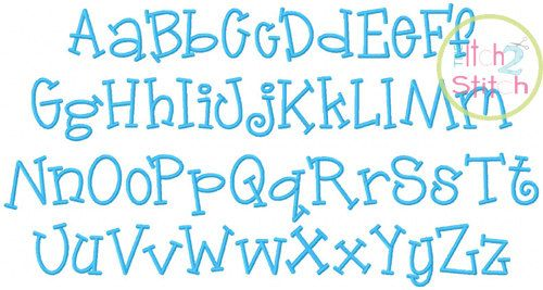 Jelly Bean Machine Embroidery Font 1 1.5 & 2 by TheItch2Stitch