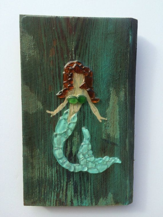 Sea Glass Art Mermaid Wall Decor Sea Glass Wall Art Wood