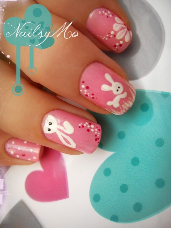 Bunny nails,perfect for Easter!