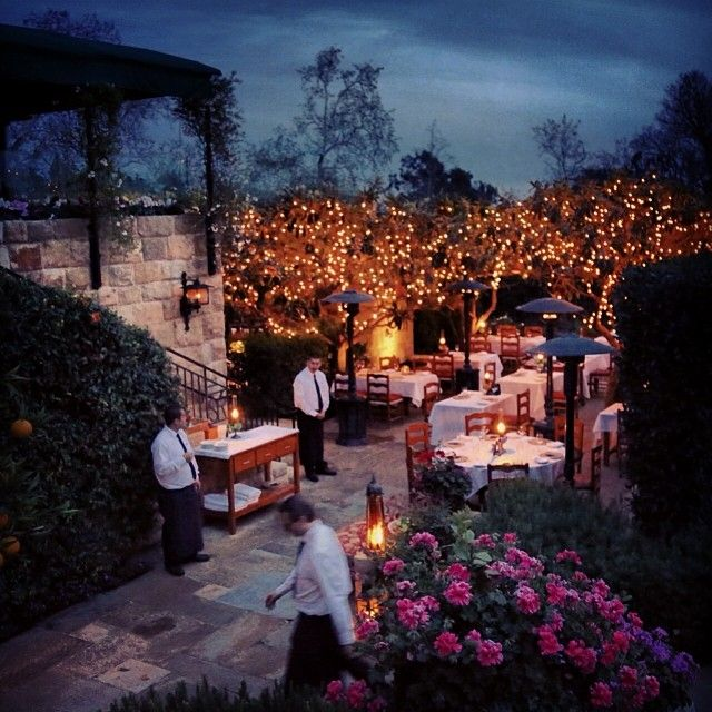Early evening restaurant prep underway at The San Ysidro Ranch in magical Montecito. Beautiful place to dine.