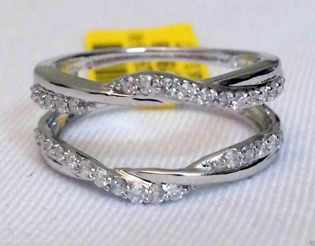 14kt White Gold Wave Ribbon Style Solitaire Enhancer Diamonds Ring Guard Wrap Jacket (0.35ct. tw) by RG&D