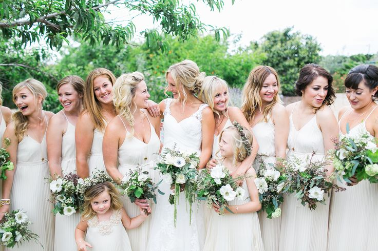 Joni + Conner // San Diego Botanic Gardens Wedding | Troy Grover Offwhite bridesmaid gowns - love this look! Photographers Blog - Orange County Wedding Photographers