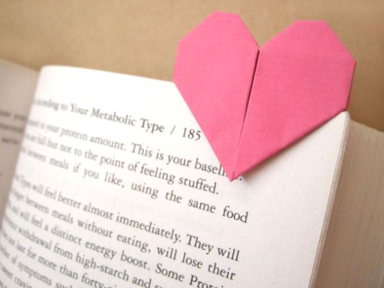origami heart page marker