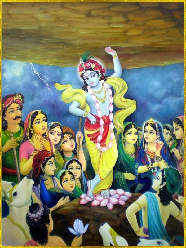 Krishna Lifting Gowardhan hill from his index finger to save people from heavy rain in the village
