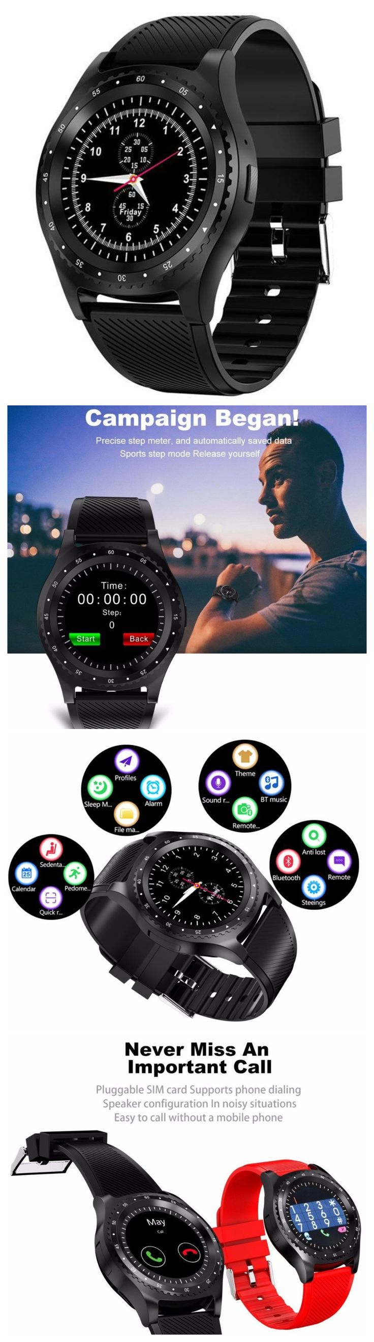 New Fitness Sports Smart Watch w Camera Bluetooth Wristwatch Tracker Smartwatch for Android IOS phone