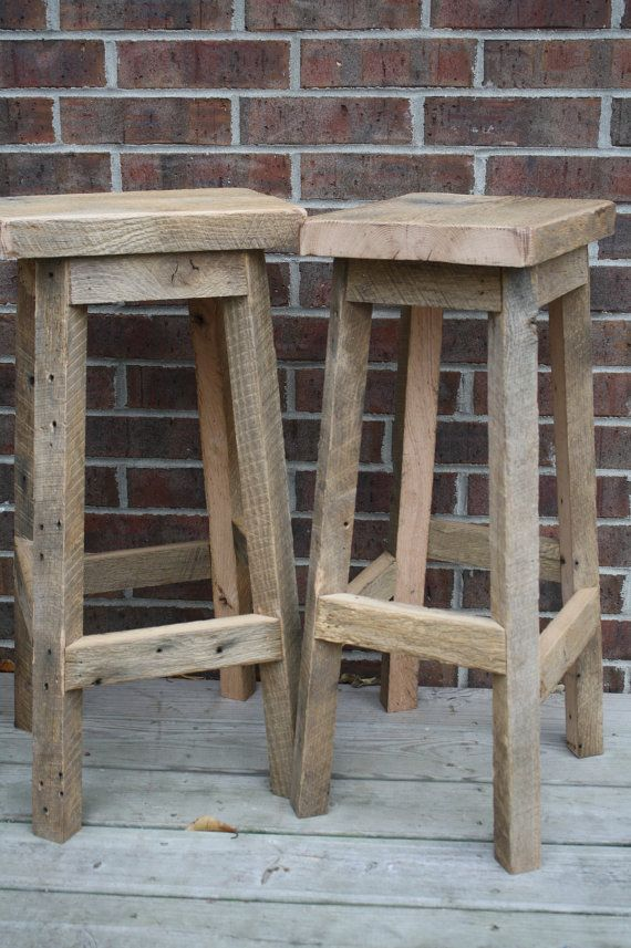 "Your Custom order for Reclaimed Rustic and Recycled Oak Barn Wood 29""-32"" Rectangle Top Bar Stool                                                                                                                                                     More"