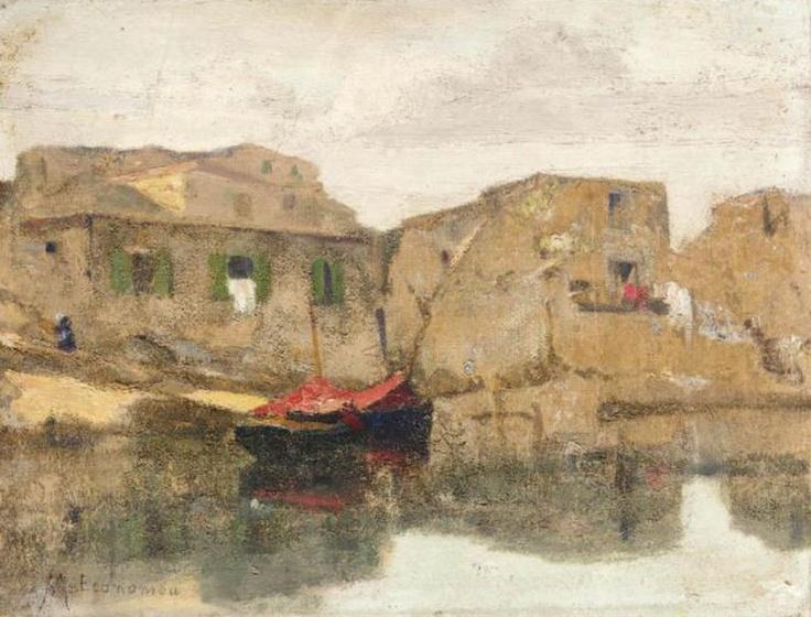 Οικονόμου Μιχάλης-Red boat by the sea