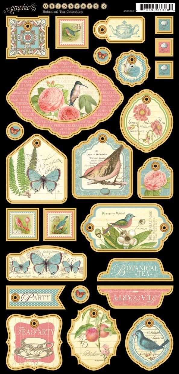 Botanical Tea - Chipboard Die-Cuts 2