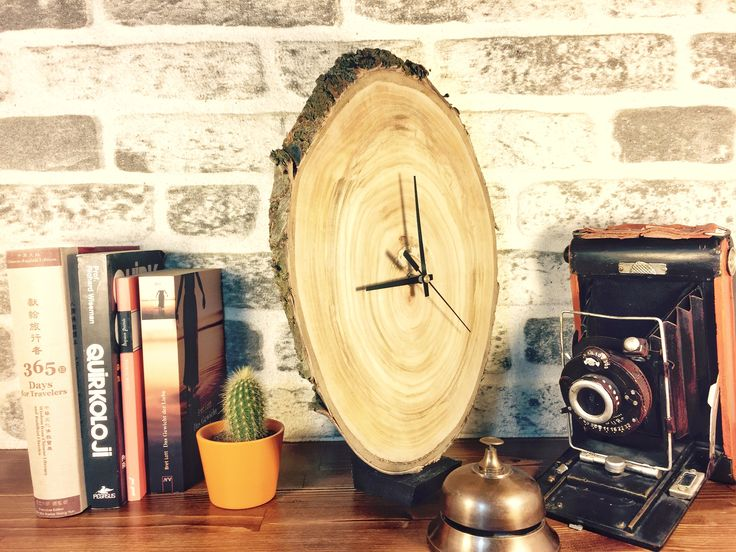 Oak Tree Slice, Unusual Wood Clock, Wooden Wall Clock, Large Wall Clock, Rustic Wall Clock, Oak Slice Clock, Country Wall Clock, Wood Clock by WoodclockDesign on Etsy