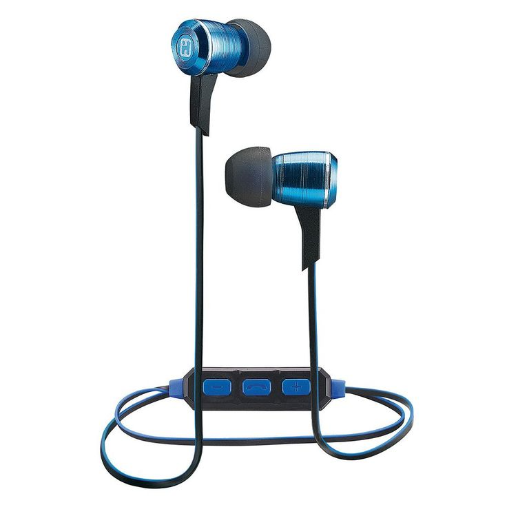 iHome iB29 Bluetooth Noise Isolating Metal Earbuds, Blue