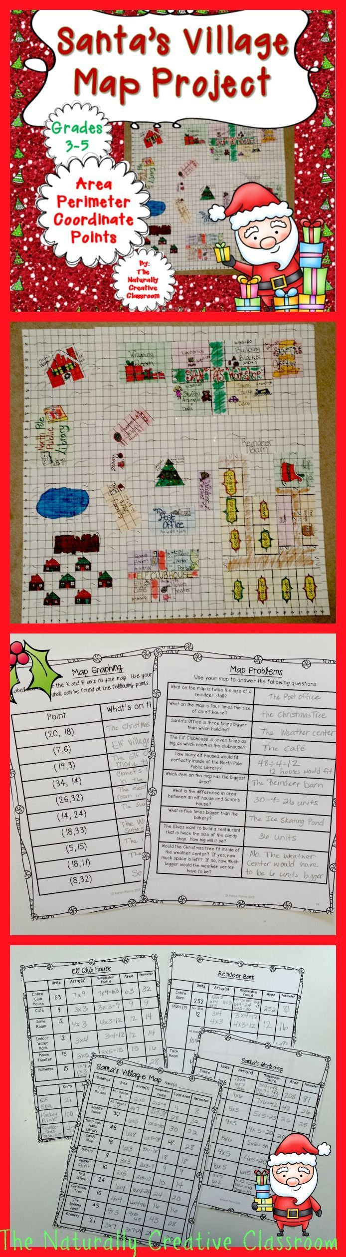 This Christmas Map Project will have your students begging for more math time!  Have students create their own map of Santa's Village at the North Pole!  They will be using area, perimeter, multiplication, arrays, factor pairs, graphing and MORE! You can either give them all the units for each item on the map or have them decide the size of each item.  Each map will be a unique creation.  This project can easily be differentiated to fit all the needs in your classroom!
