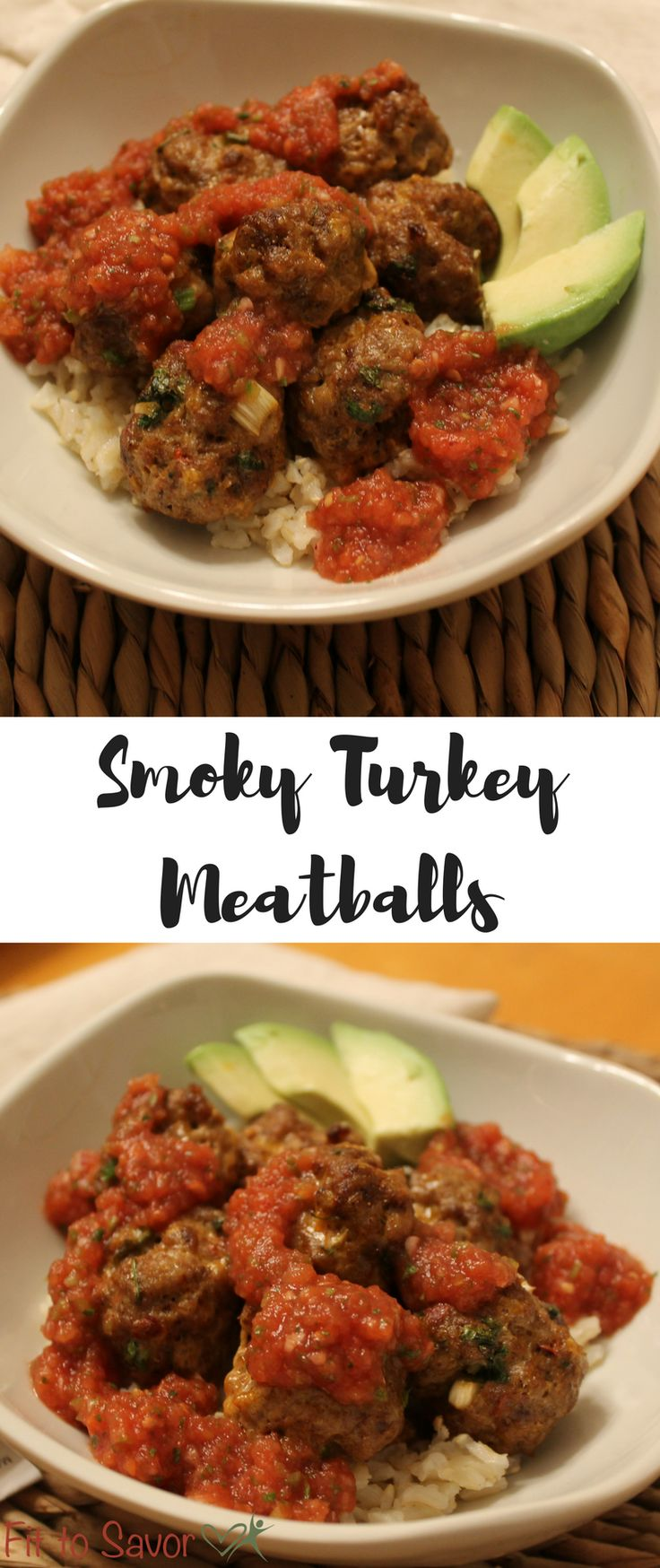 These Smoky Turkey Meatballs are soooooo flavorful! No one will ever know they're made of turkey instead of ground beef. Plus, they're easy to make and you can even make them ahead of time for meal prep! They're gluten free and 21 Day Fix friendly. Only a little bit of shredded cheese is needed to bind these together, no egg and no flours of any kind!