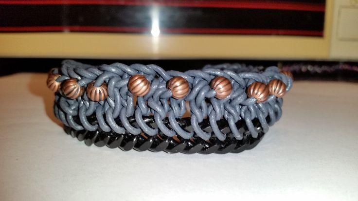 Lederarmband mit schwarzer Panzerkette und Kupferperlen, Leather Barcelet mixed 25,90 Euro Handarbeit made by szenenwelt auf Etsy