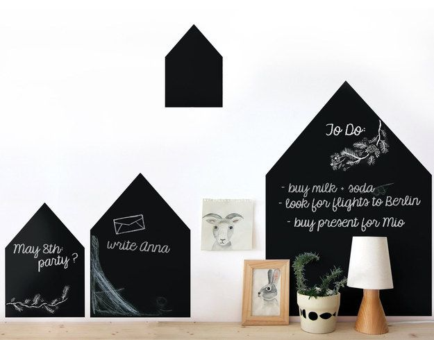 A chalkboard village you can doodle on.