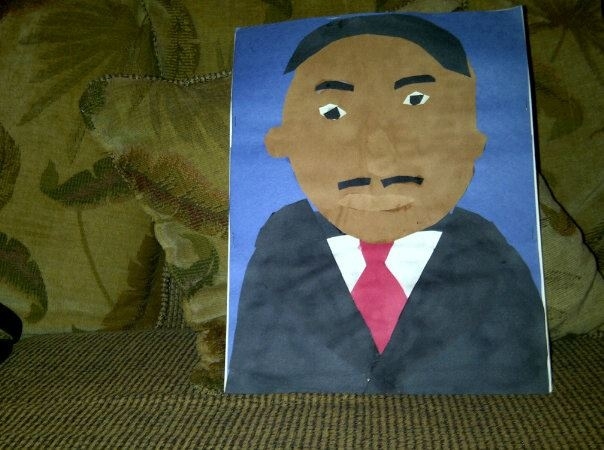 Caleb's cut and paste of Dr. Martin Luther King Jr. Great Job Caleb!!!
