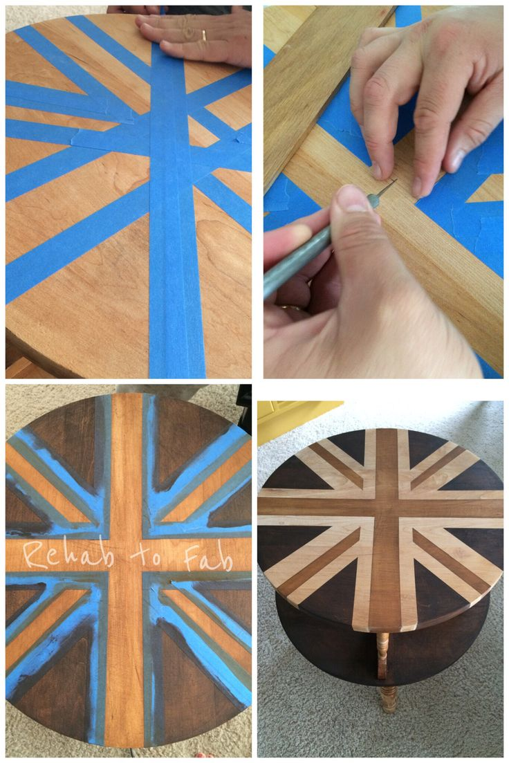 Union Jack painted with 2 different stains by #GeneralFinishes. Gel stain in Java & Colonial Maple. Topped with Arm-R-Seal.