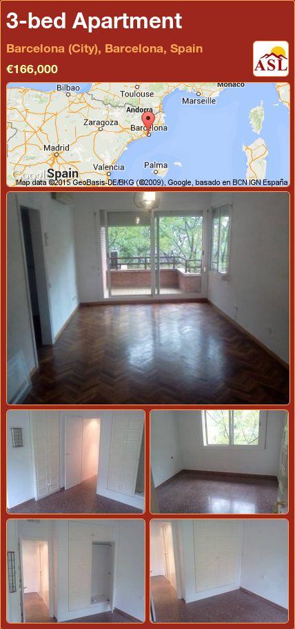 3-bed Apartment in Barcelona (City), Barcelona, Spain ►€166,000 #PropertyForSaleInSpain