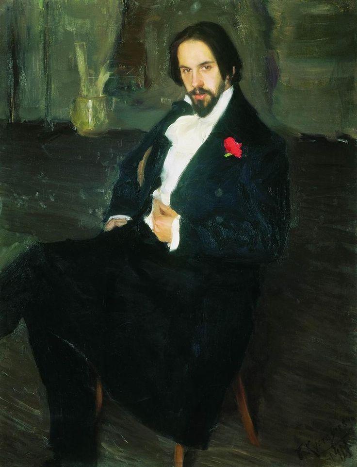 Portrait of Ivan Bilibin,1901 by Boris Kustodiyev.