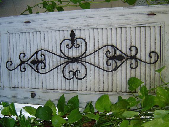Large  Antique White Wall Scroll. Wrought Iron Wall Decor Door Topper