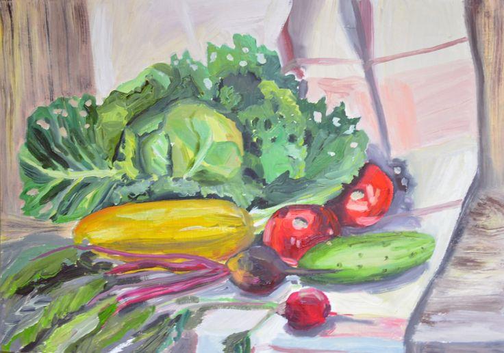 Кристина Фролова. Овощи с грядки. Этюд маслом с натуры.