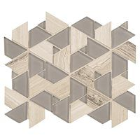 American Olean Loren Place 11-in x 11-in Pyramid Gray Glass and Metal Random…