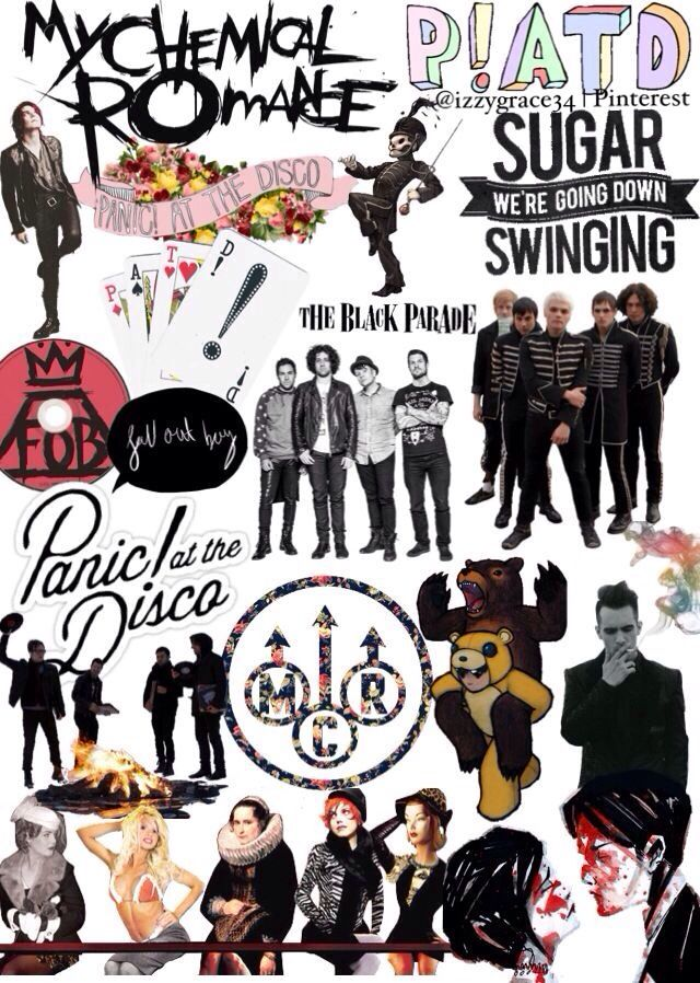 Fall Out Boy My Chemical Romance  Panic! At the Disco (the emo trinity;) Not song lyrics. But I love these bands so who cares