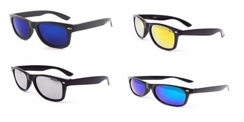 New Classic Style Black framed Sunglasses with Coloured lenses Adults Classic