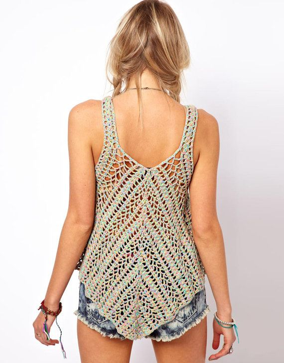 Crochet top boho patrón instrucciones en por FavoritePATTERNs