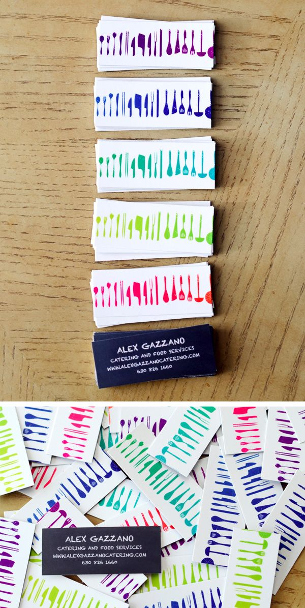 The Top 16 Food Business Cards - Design Ideas || Colorful catering business cards by Nic Design