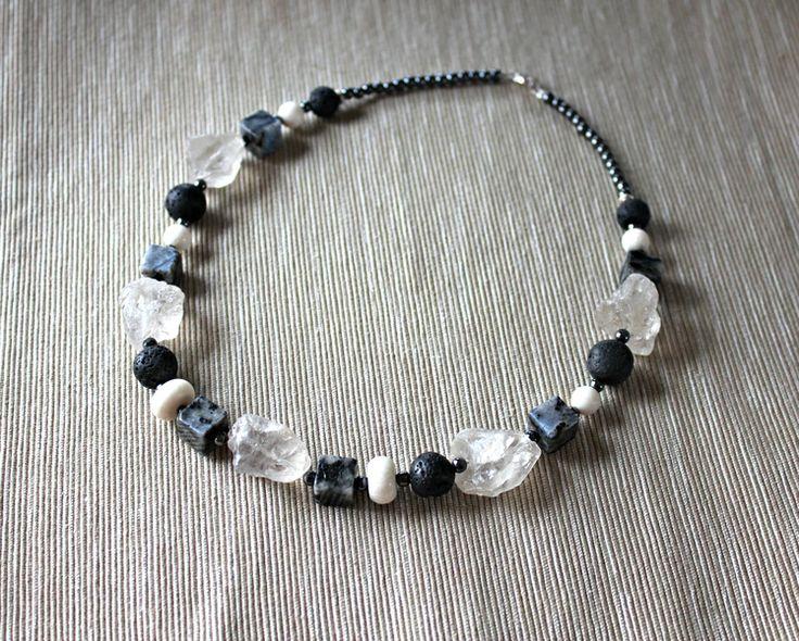 Necklace with rock crystal, labradorite, coral... from Especially for You available on http://en.dawanda.com/shop/Especially-4-You