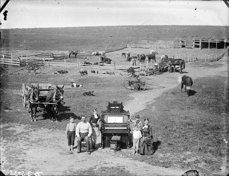 """Circa 1887. The David Hilton family near Weissert, Custer County, Nebraska. Photographer's annotation: """"We did not want to show the old sod house to friends back east, but the young lady and mother wanted to prove they owned an organ."""" Solomon D. Butcher - Nebraska State Historical Society, [Digital ID: nbhips 14567] http://www.loc.gov #American #History #Nebraska"""