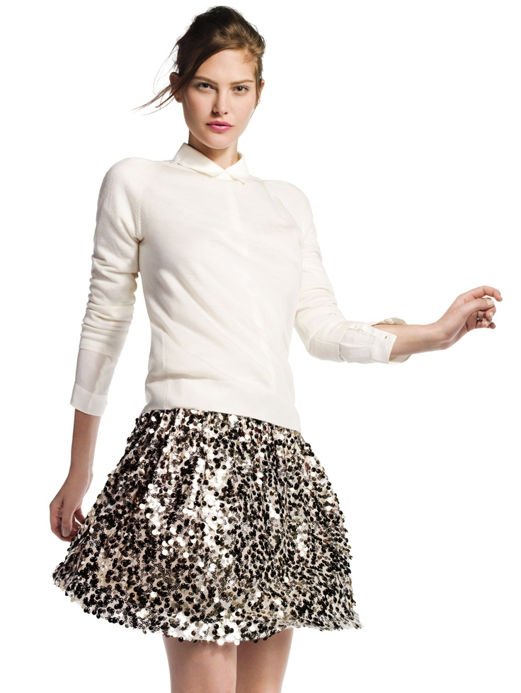 Sweater with sparkly skirt. Mix the textures. If this was a sparkly top, it would not have the impact. Biddy Craft