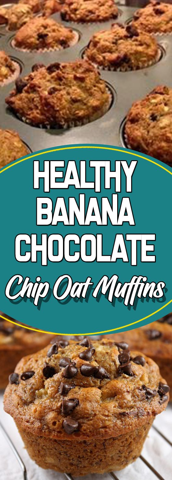 Healthy Banana Chocolate Chip Oat Muffins #dessert #dessertrecipes #recipeideas #homemade #desserttable #appetizer