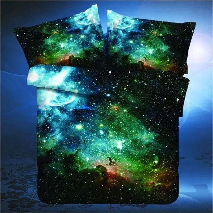 2016 New 3D Hipster Galaxy Bedding Set Universe Outer Space Themed Galaxy Print Bed linen Duvet Cover Flast Sheet & Pillow Case