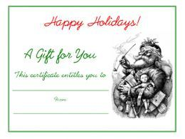 Vintage Santa Claus Christmas free printable holiday gift certificate blank