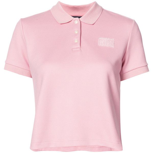 Fenty X Puma cropped polo top ($80) ❤ liked on Polyvore featuring tops, polo tops, sport crop top, sport top, polo crop top and sexy pink tops